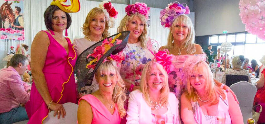 Golden Grove Electrical and Data Services National Breast Cancer Foundation photo of 7 ladies all dressed up in pink enjoying lunch.